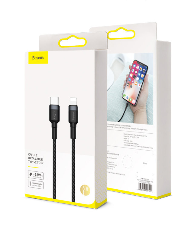 thumb картинка Кабель Baseus Cafule Cable Type-C to iPhone 18W 1m от магазина Fastoo